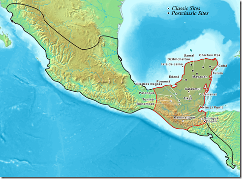 Map of Maya city sites