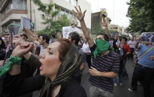 Protestors in Tehran (LATimes)